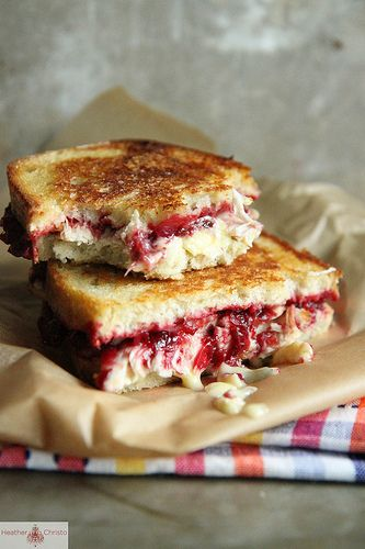 Roasted Turkey, Cranberry and Brie Grilled Cheese - Heather Christo #food