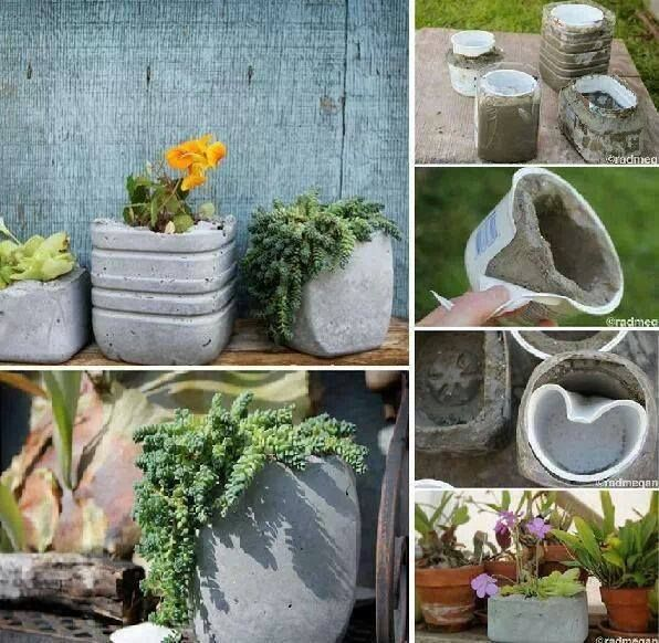 Create Your Own Cement Pots By Using Plastic Buckets As