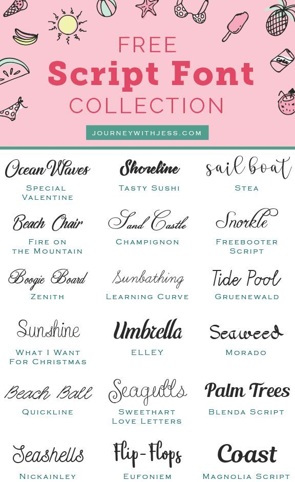Download Free Font Collection: Script Fonts — Journey With Jess ...