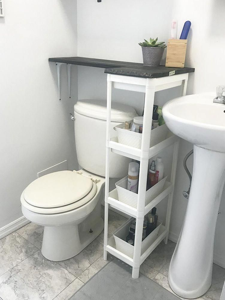 How To Build A Brilliant Shelving Solution For Small Bathrooms With No Counter Space Diy Bathroomstorage