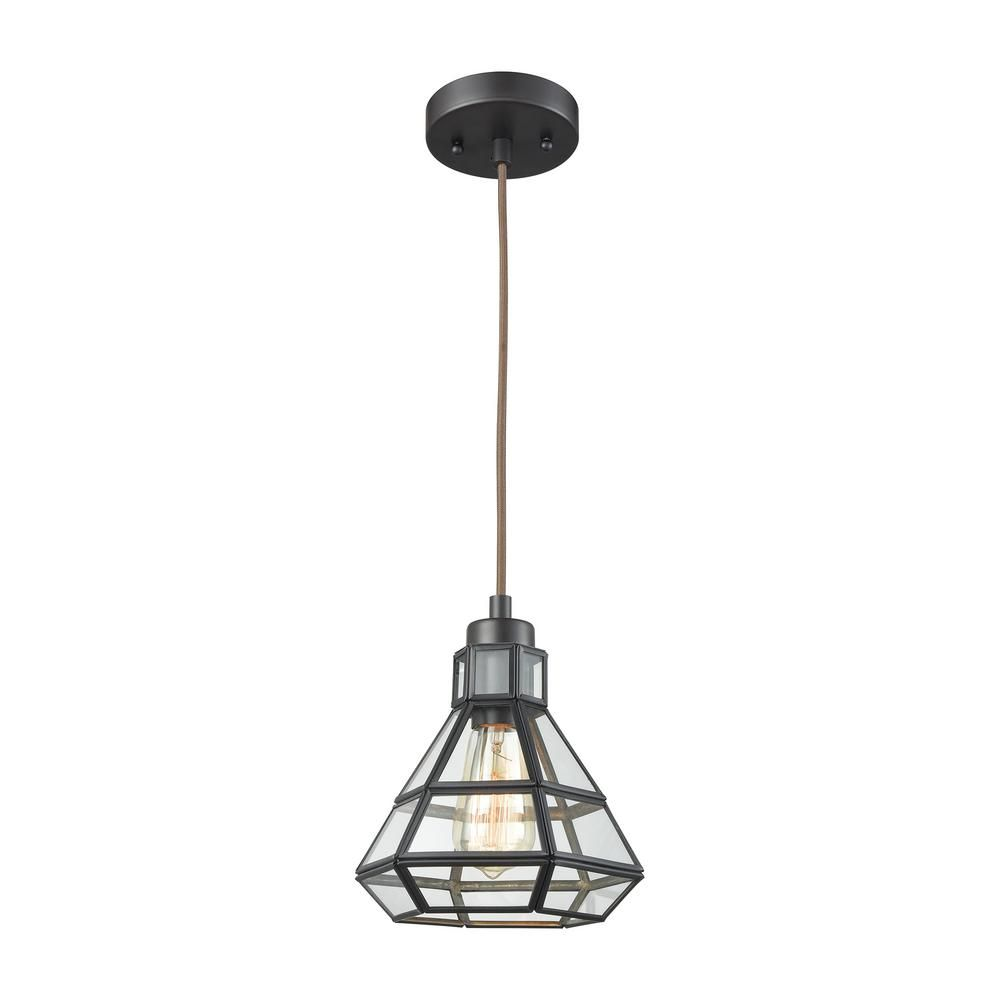 Titan Lighting Window Pane 1 Light Oil Rubbed Bronze With Clear Glass Pendant With Images Bronze Pendant Light Geometric Pendant Light Single Pendant Lighting