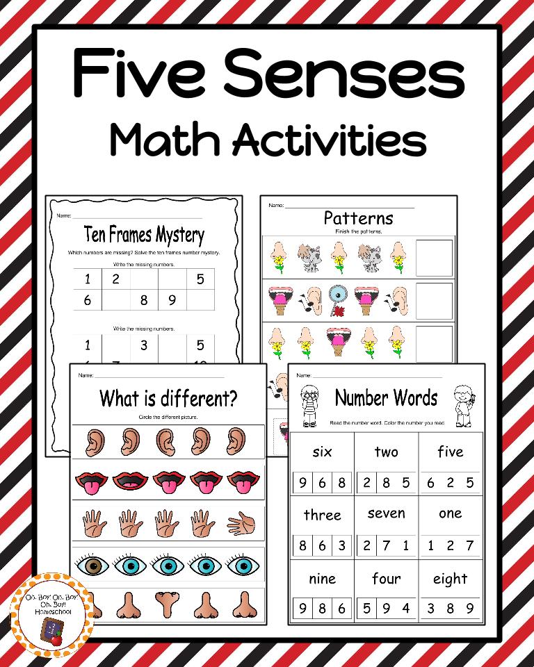 Five Senses: 28 Math Activities   Fun math worksheets, Fun math and ...