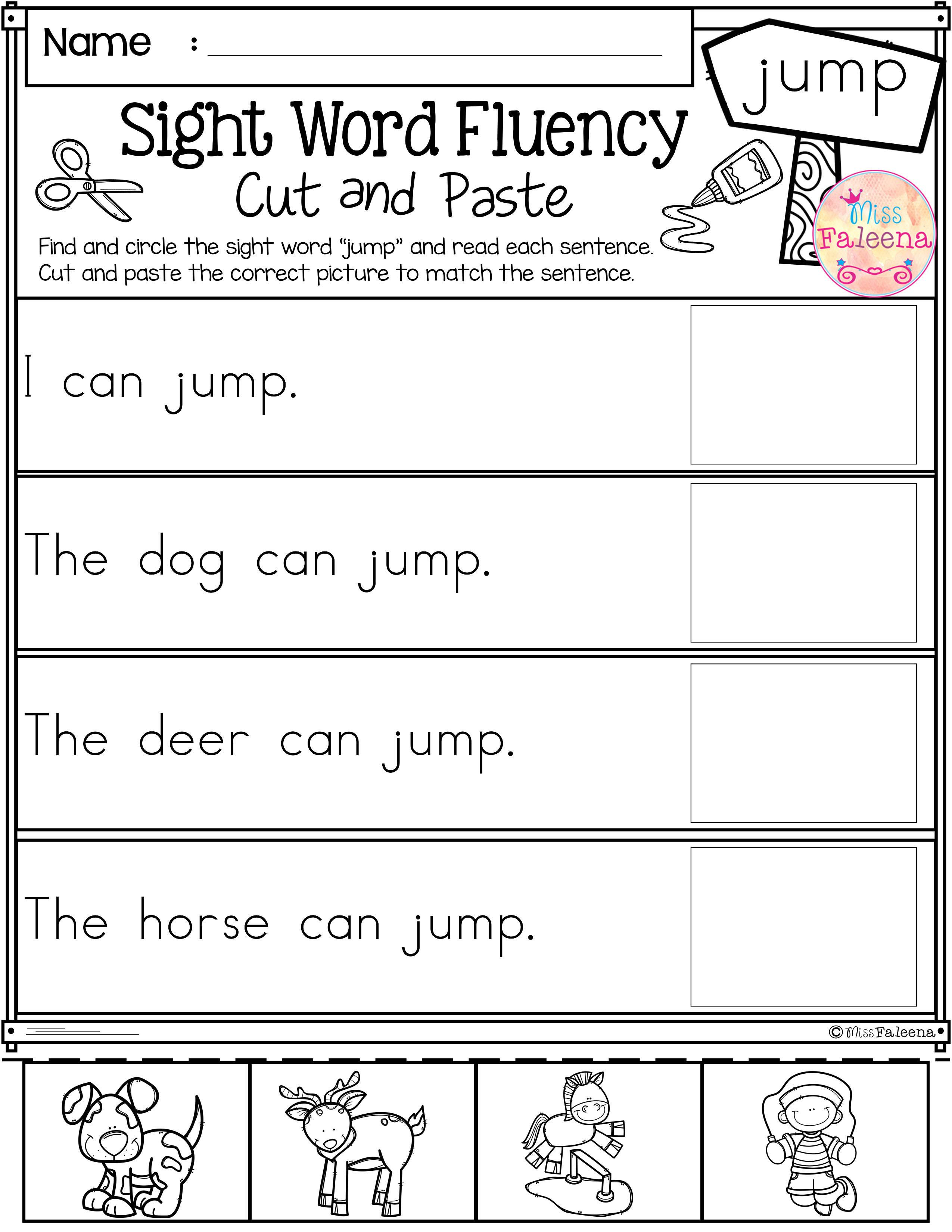 Free Sight Word Fluency Cut And Paste En