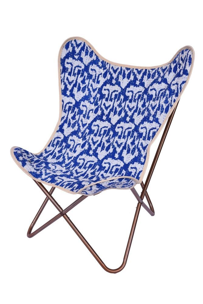 Blue Ikat Kantha Replacement Butterfly Chair Cover Handmade Cover | Butterfly  Chair, Chair Covers And Butterfly