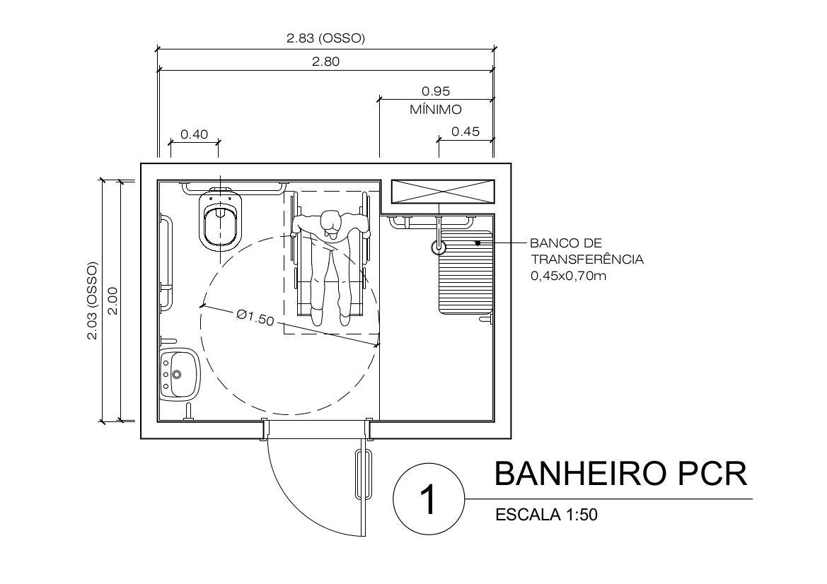 Largura Minima Para Banheiro De Deficiente : Dimens?es m?nimas de ambientes exemplo banheiro
