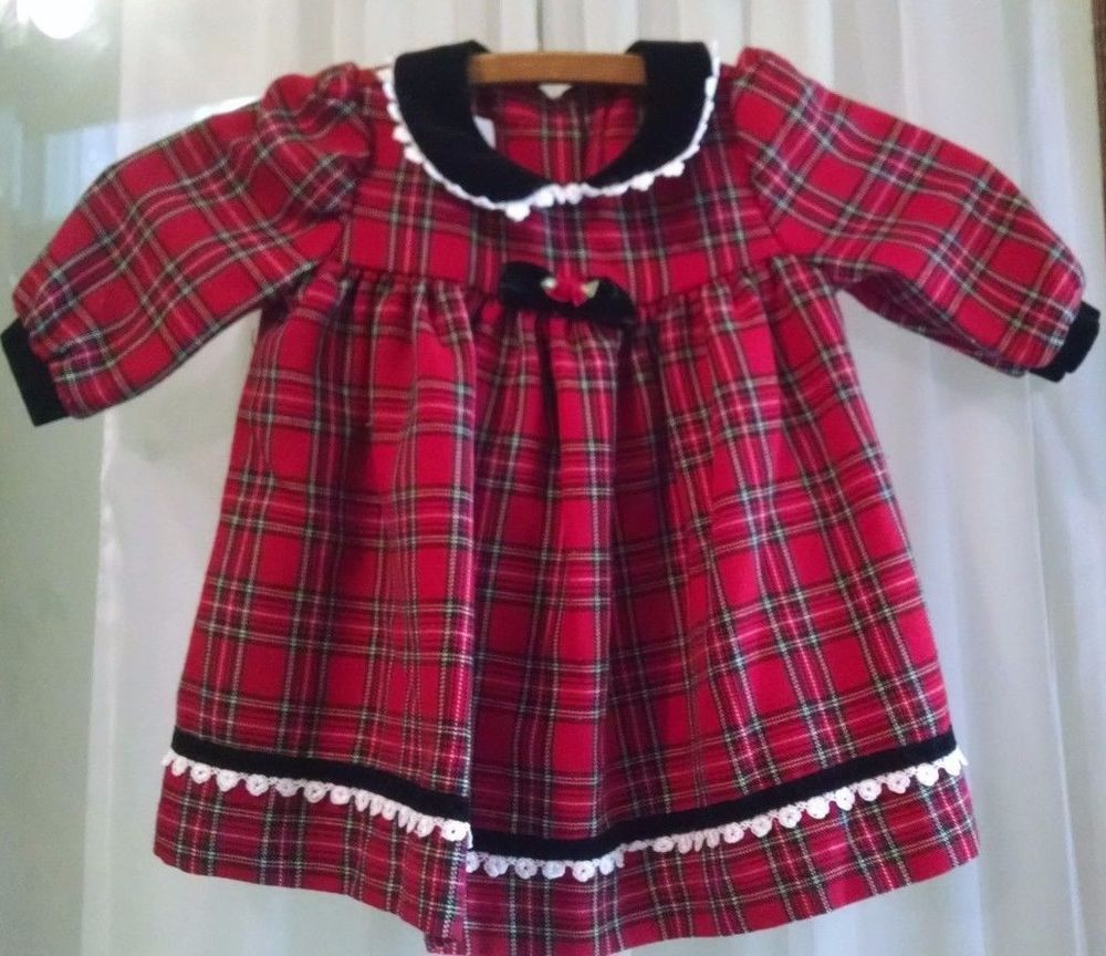 37be881d071e Bonnie Baby Girl Christmas Dress 12M Red Plaid Long Sleeves Black ...
