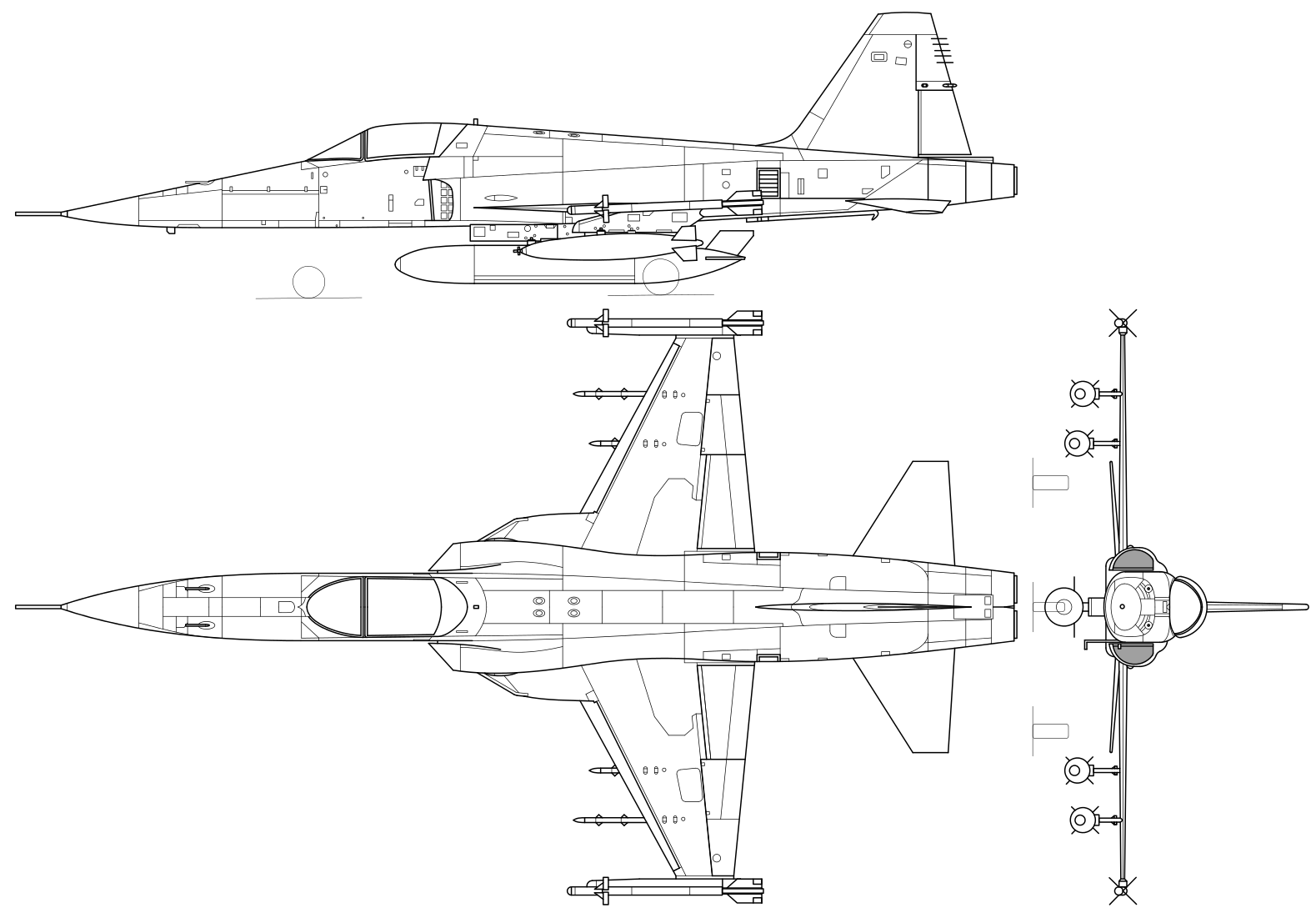 An orthographically projected diagram of the F-5E Tiger II