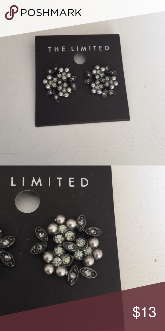 Limited silver/rhinestone earrings Limited silver pearl/black rhinestone earrings, never worn The Limited Jewelry Earrings