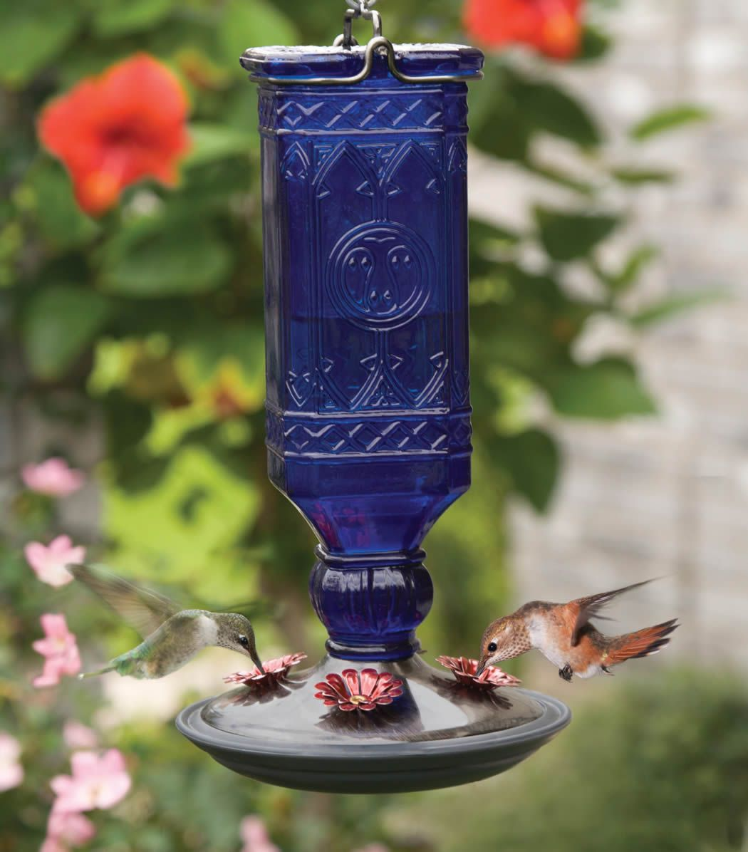 Cobalt Antique Bottle Feeder Humming bird feeders