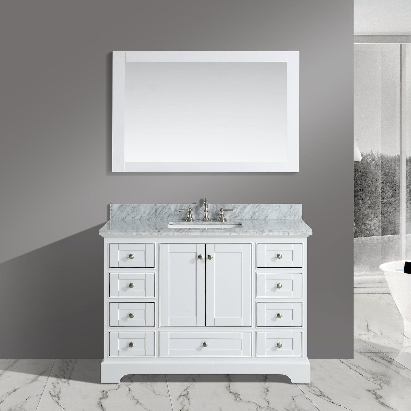 """48"""" White Farmhouse Vanity Set (Mirror Included) with"""
