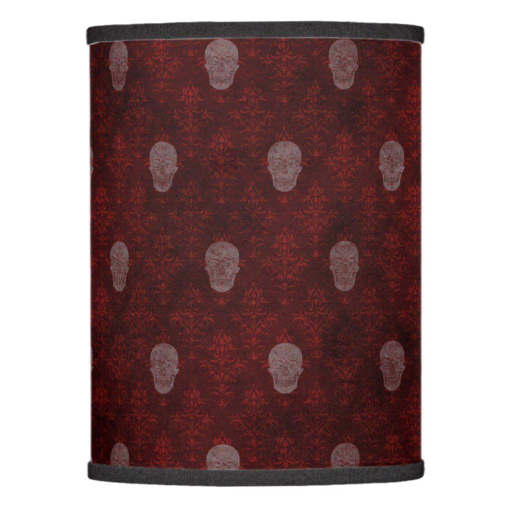 Photo of Falln Victorian Skulls Red Lamp Shade