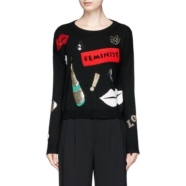 Alice + Olivia 'Glynda' slogan patch embellished wool sweater ($385) ❤ liked on Polyvore featuring tops, sweaters, black, alice olivia sweater and alice olivia top