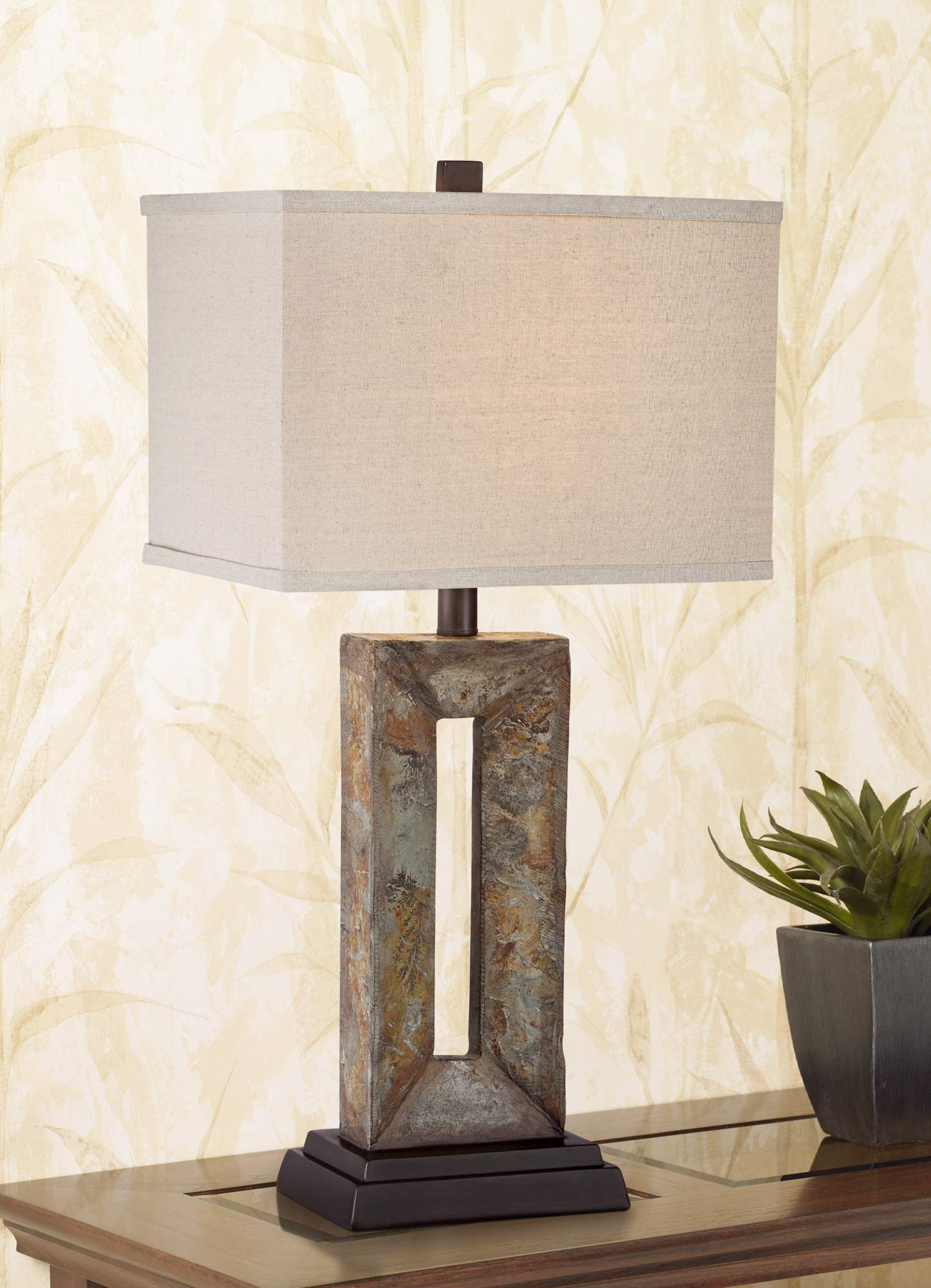 Tahoe Small Rectangular Slate Table Lamp 5y311 Lamps Plus Rustic Table Lamps Slate Table Lamp Small Table Lamp