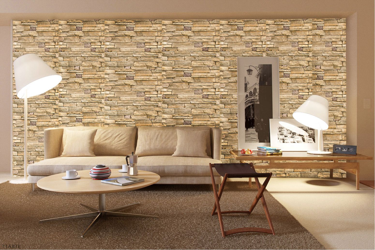 Living con papel mural de piedras beige ideas para tus for Papel decorativo para pared