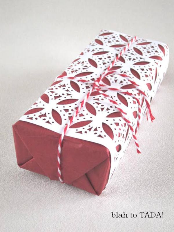 "blah: plain paper/TADA!: lace ""jacket"" (made with a craft punch) to wrap a gift"