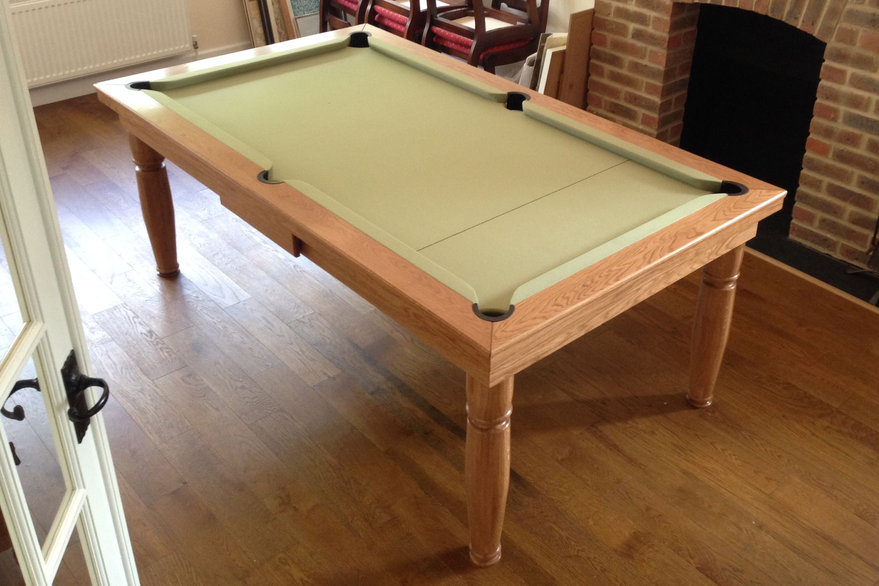 Oak Colour 5 With Hainsworth Smart Sage Cloth Www Luxury Pool Tables Co Uk Pool Table Dining Table Luxury Pool Modern Pool Table