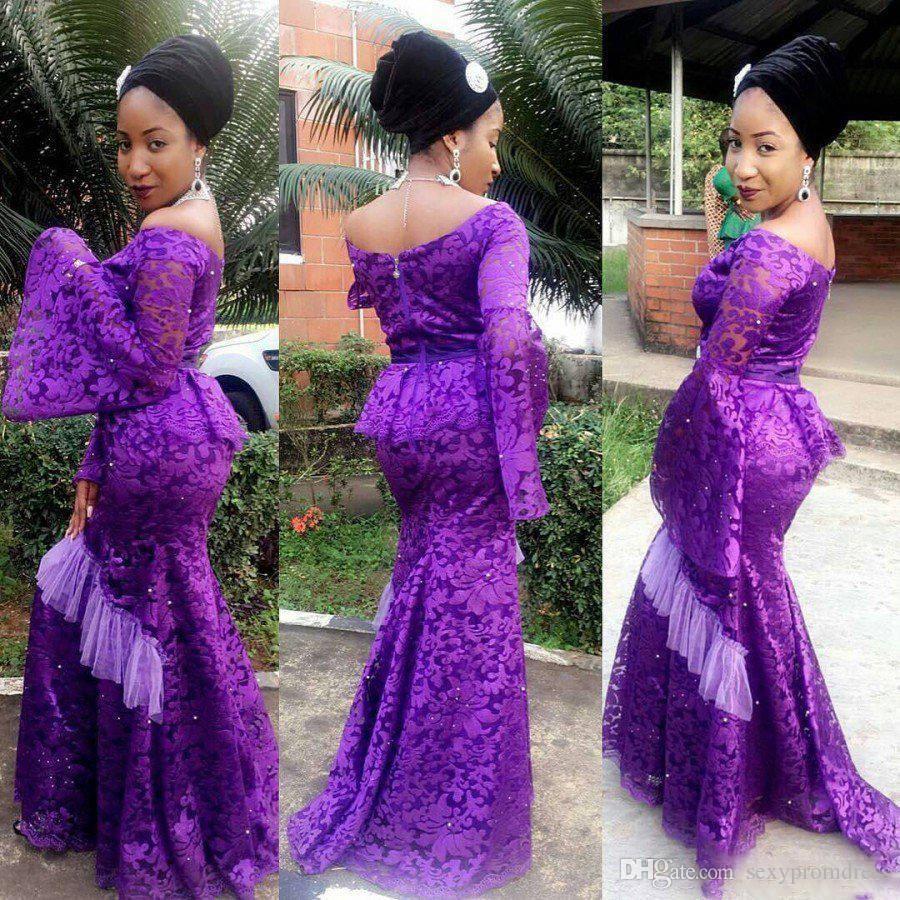 eba5e967a4e38 Purple Lace Poet Long Sleeve Prom Dress Plus Size Aso Ebi Style ...