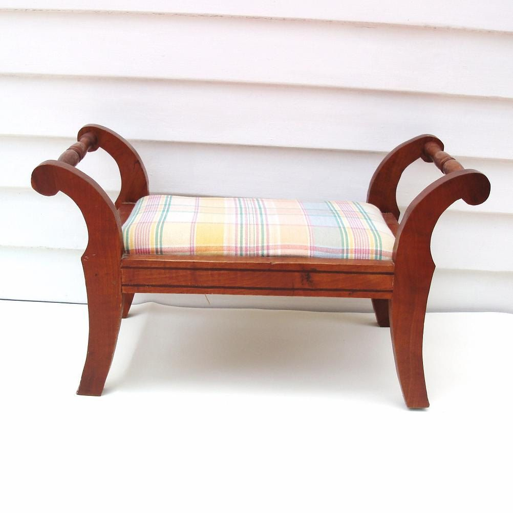 Vintage Wood Foot Stool Wooden Footstool Upholstered Step Stool Fabric Plaid Fabric Foot Rest  sc 1 st  Pinterest : upholstered step stool - islam-shia.org