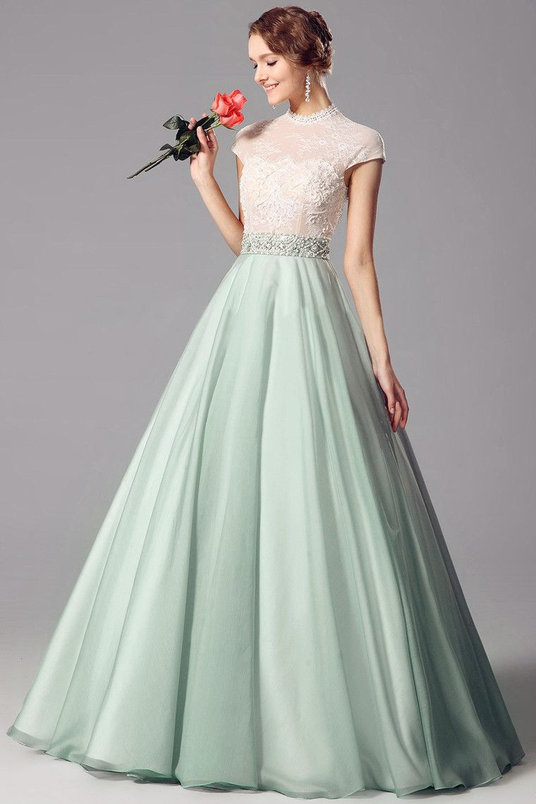 Applique chiffon high neck aline prom dress kleider