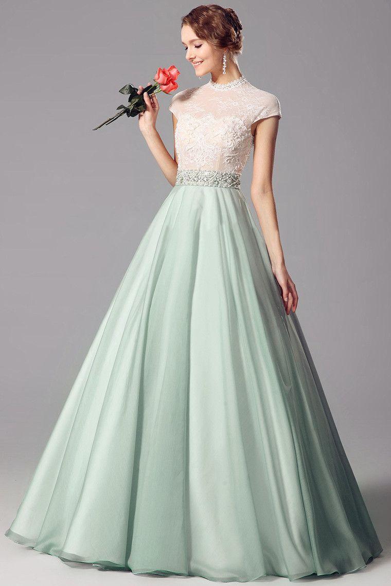 Applique Chiffon High Neck A-line 2015 Prom Dress | harika modeller ...