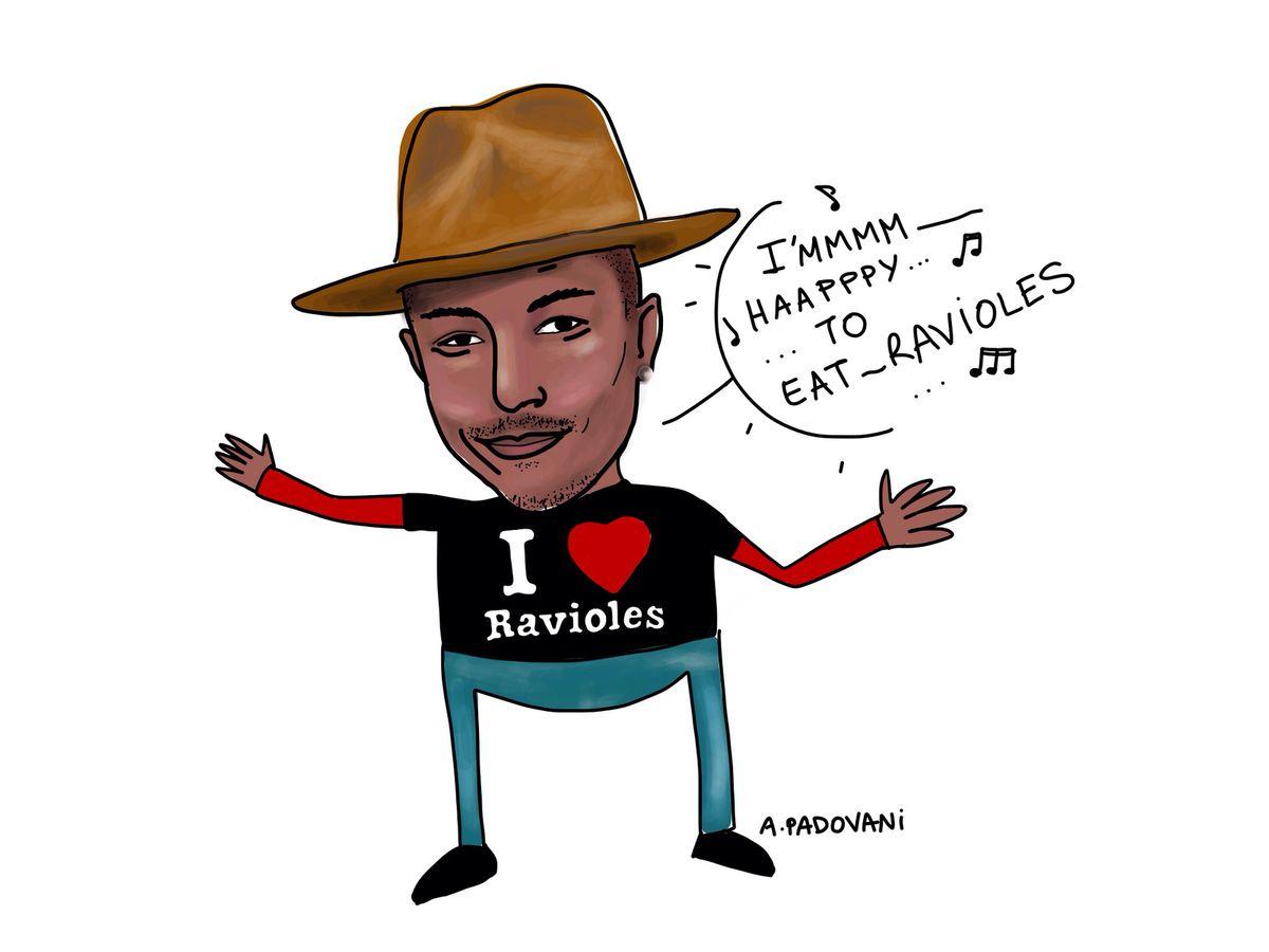 illustration de Pharell williams avec le t-shirt I love ravioles - i'm happy ! aurélie padovani http://blog.etpourquoipaslalune.fr