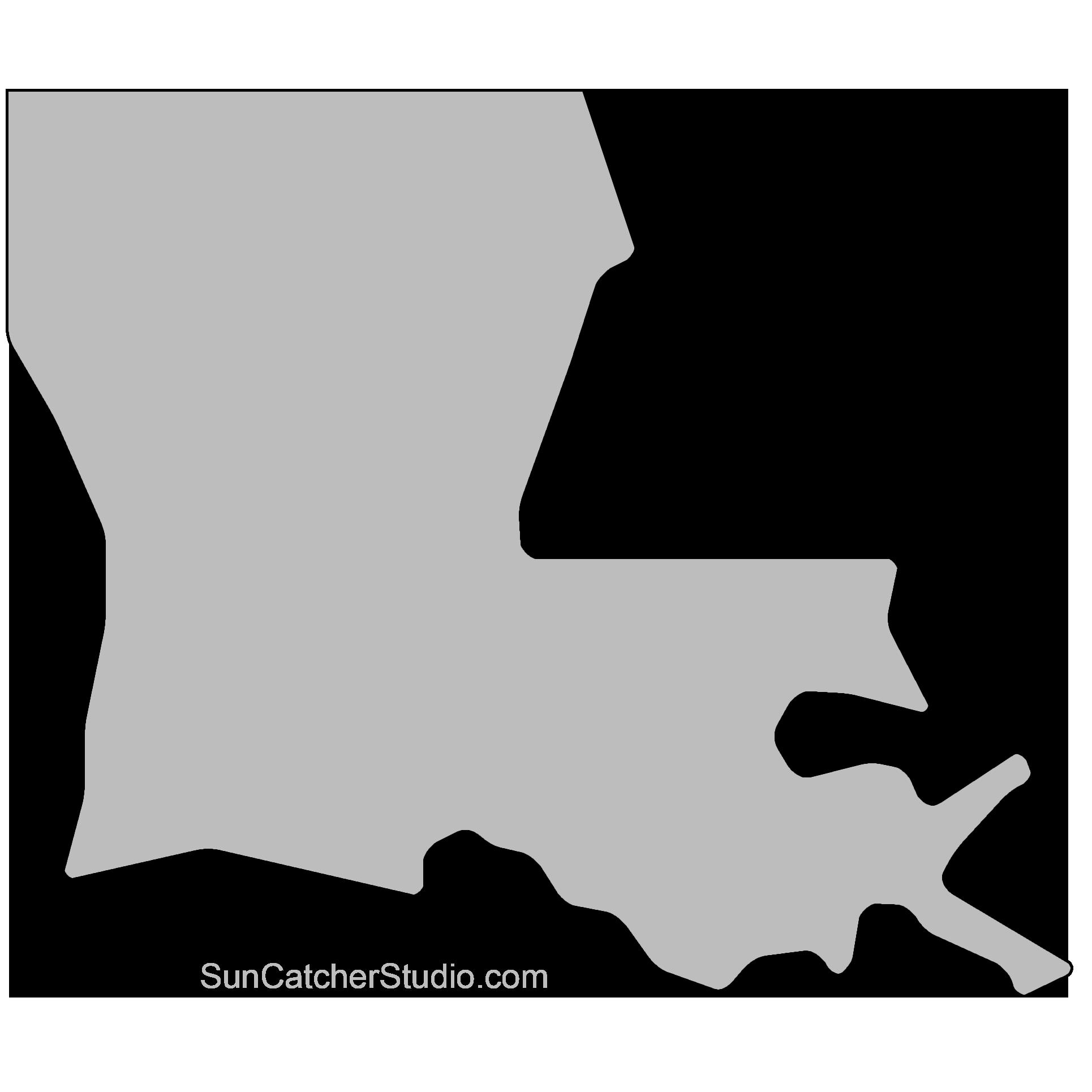 Louisiana Map Outline Printable State Shape Stencil Pattern Louisiana Map Map Quilt Louisiana
