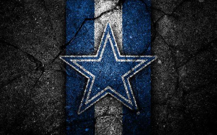 Download wallpapers 4k, Dallas Cowboys, logo, black stone