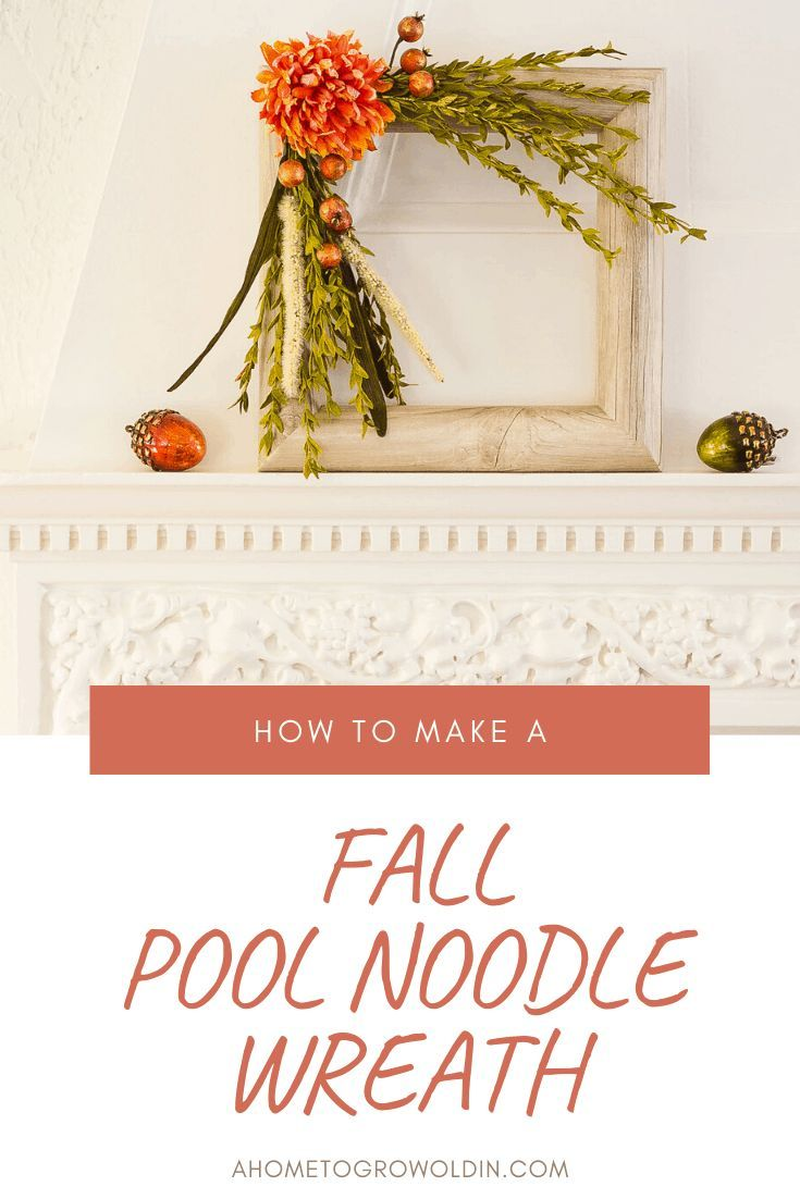 Square Faux Wood Fall Pool Noodle Wreath #poolnoodlewreath