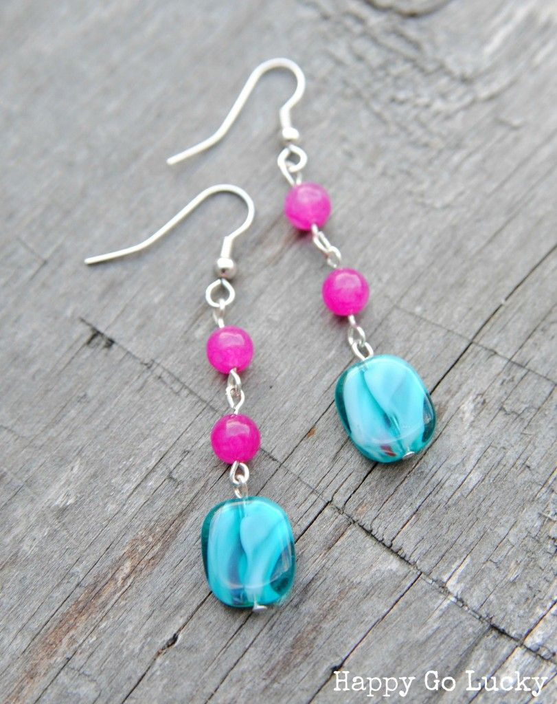 Pink And Teal Handmade Beaded Earrings