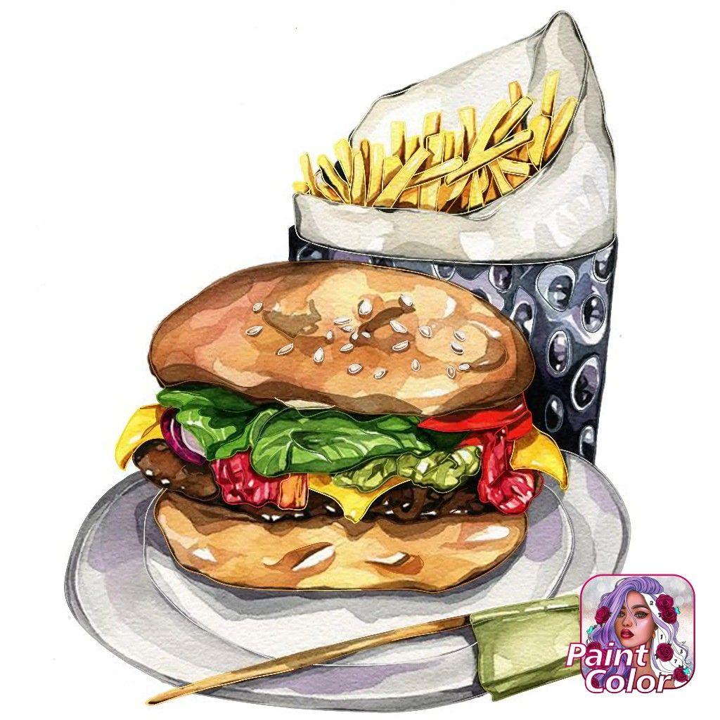 Pin By Kenya Gonzalez On Coloriages Burger Cartoon Burger Drawing Illustration Food