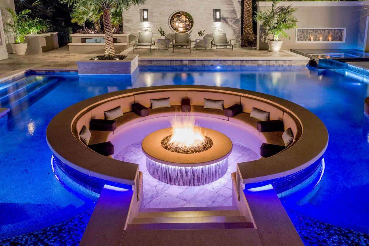 Sunken Fire Pit Drainage Inside Pool Sunken Fire Pits Fire Pit Seating Area