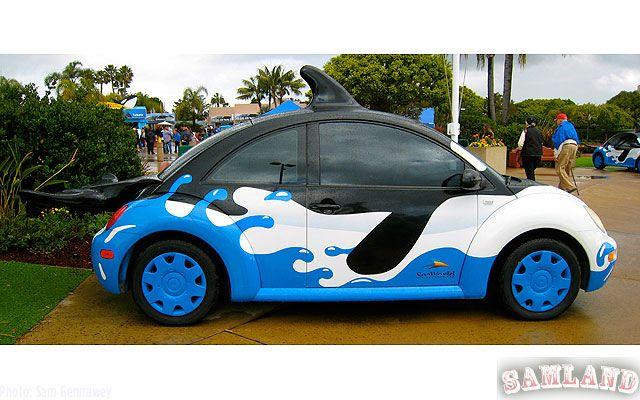 Sea word advertisment car
