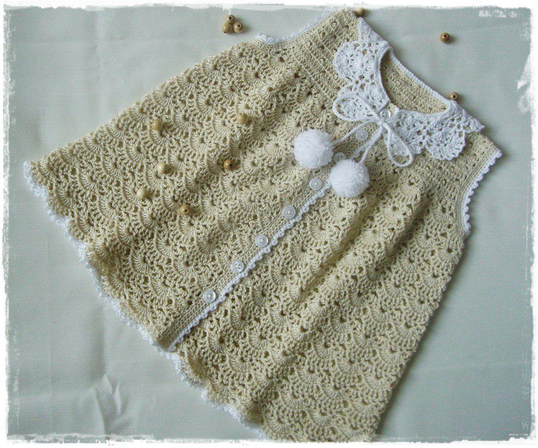 Patron vestido con cuello redondo para niña a crochet | Patrón Libre ...