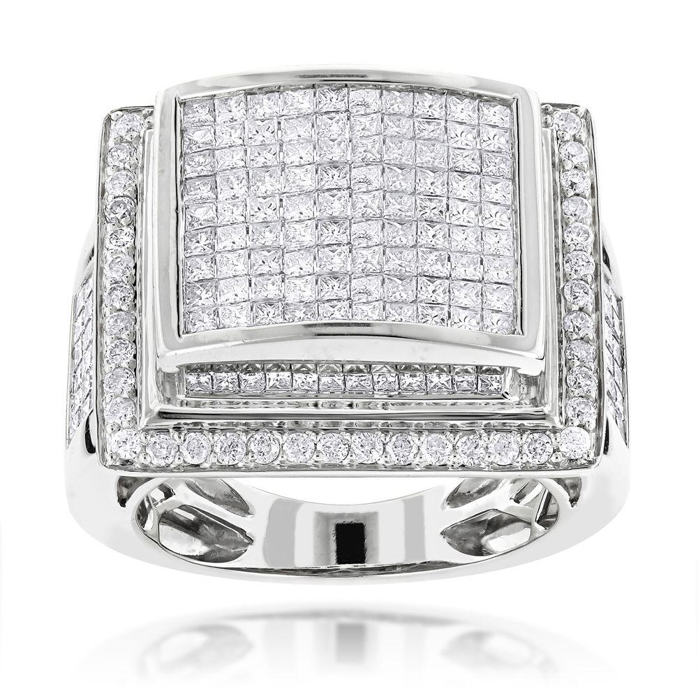 Mens Rings 14K Mens Diamond Ring Princess Cut Round 6ct | Princess ...