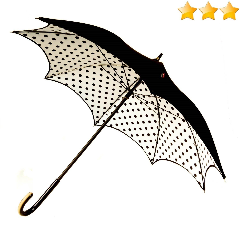 Parapluie pagode noir doublé blanc à pois noirs Sauvagnat