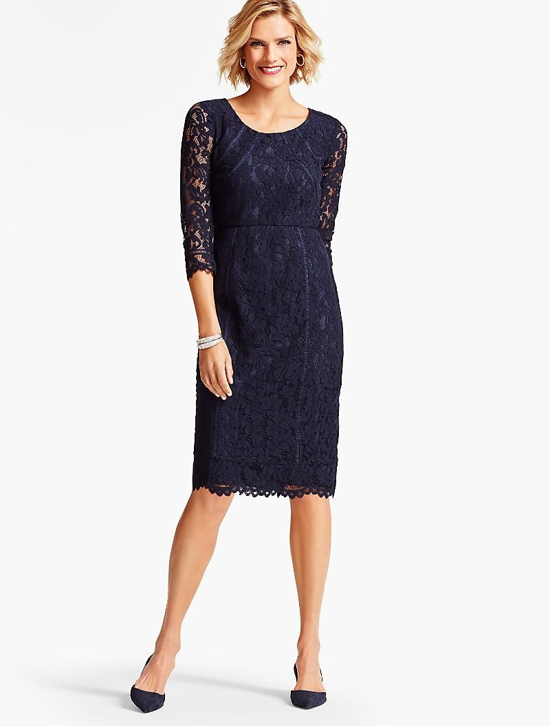 Leaf Lace Sheath Dress Talbots Indigo Blue Dresses Clothes For Women Womens Dresses [ 1057 x 800 Pixel ]