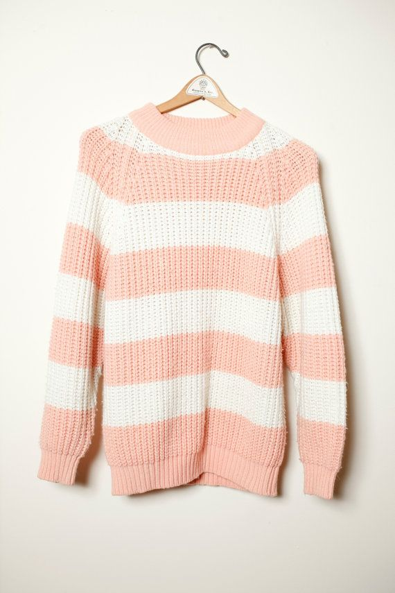 80s Vintage Cozy White Pastel Sweater Size S Knitwear Pullover Kawaii Decora Harajuku Pink Blue Green  Aesthetic Clothing Creamy Casual