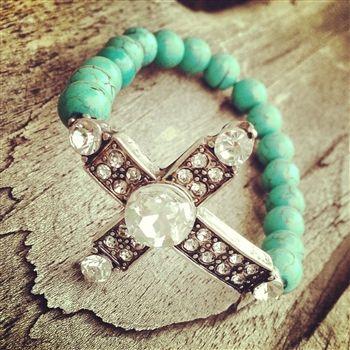 Turquoise Statement Cross Bracelet