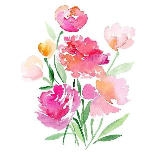 Flower Bouquet Watercolor Art Print Liked On Polyvore Featuring Home Decor