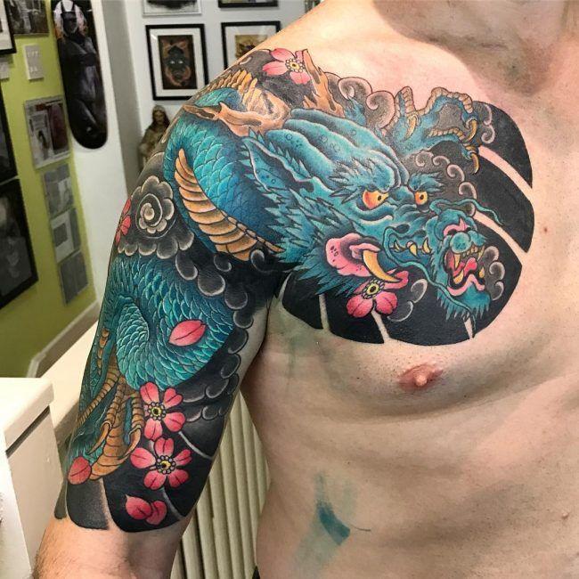 Mike S Koi Sleeve Chest Panel Unfinished Big Jpg 2400 3200: Dragon Sleeve Tattoos, Tattoos