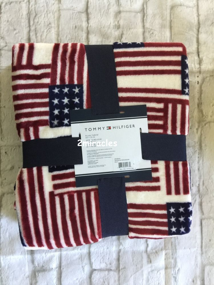 Tommy Hilfiger American Plush Flags Red White Blue Dorm Throw Lounge Blanket Tommyhilfiger Americanapatrioticflags
