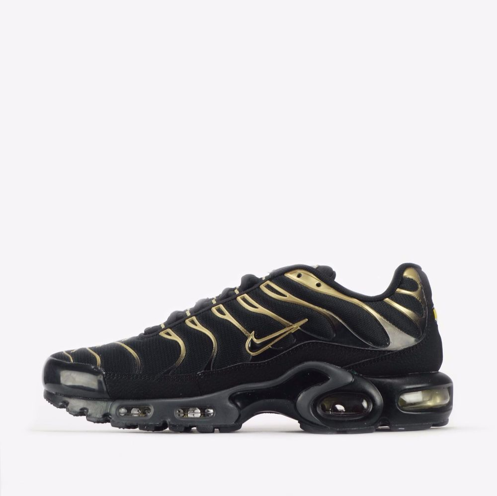 cddfb975a7 Nike Air Max Plus TN Tuned Men's Shoes in Black/Metallic Gold #Nike  #CasualTrainers