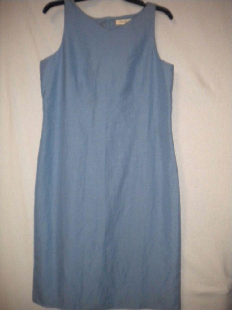 Eddie Bauer Size 12 Silk Linen Periwinkle Sleeveless Lined Women Sheath Sundress #EddieBauer #Sheath #Versatile