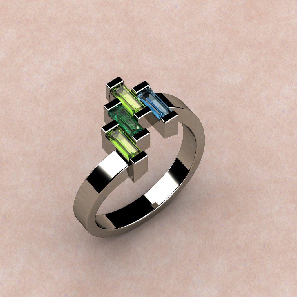 Mother's Ring set w. Peridot, Emerald & Aquamarine ...
