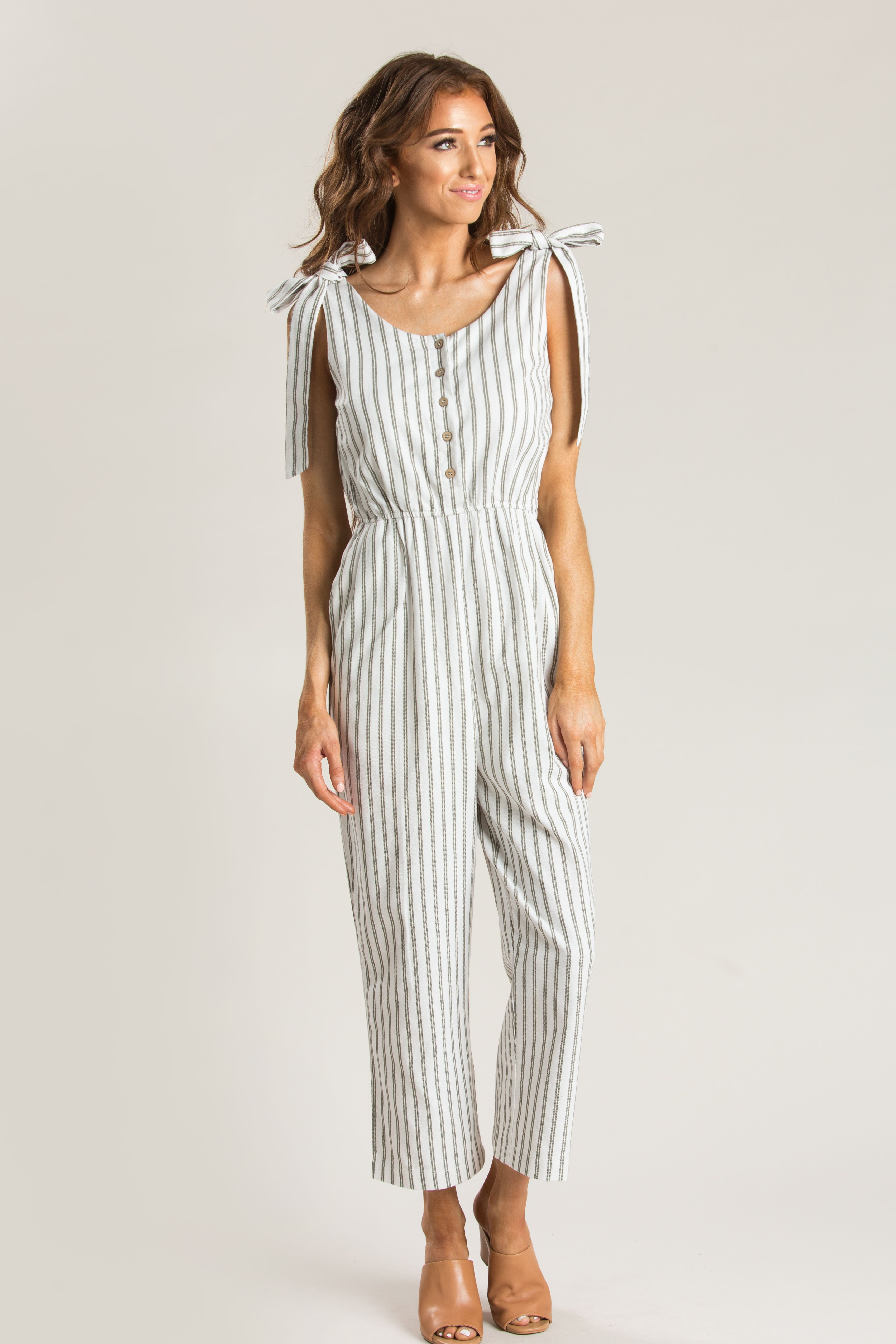 a26827debc5 Hazel Olive Striped Jumpsuit Casual Date Nights