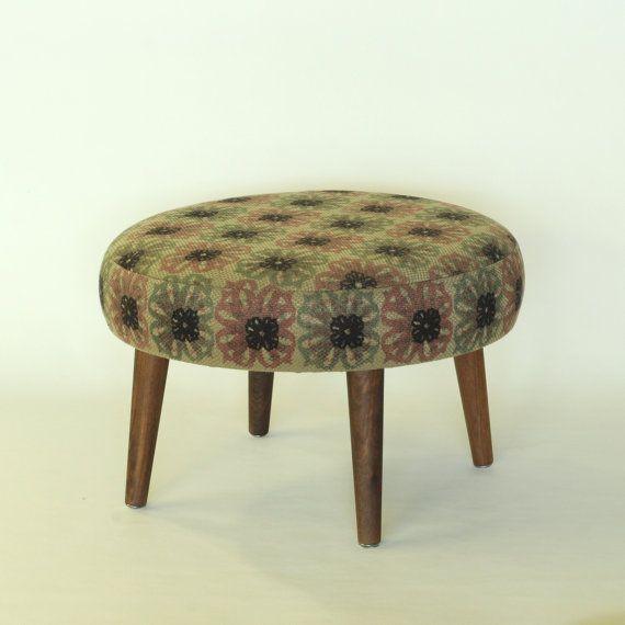 Mini Tiny Ottoman Footstool Stool Bench Furniture Silk Screening Fabric Flowers Pattern Vintage Walnut Wood Gre Ottoman Round Ottoman Pouf Ottoman