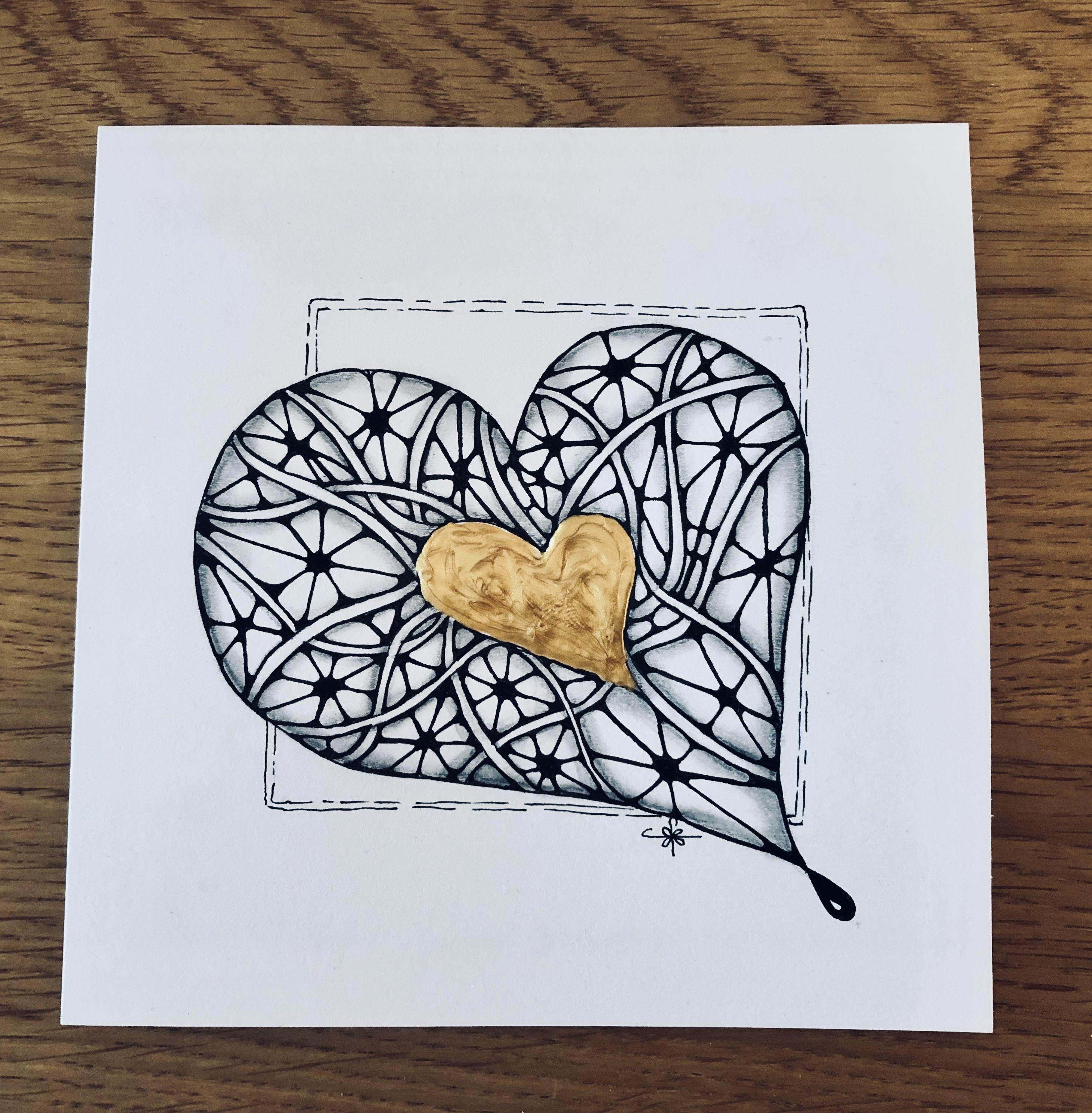 Heart Anniversary Card Anniversary Cards Zentangle Patterns Zentangle