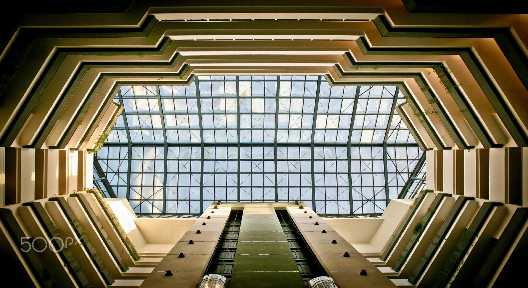 H10 - Looking up while drinking my coffee in the lobby bar, I noticed a glass ceiling with interesting vectors, lines and architecture.. Enjoy!