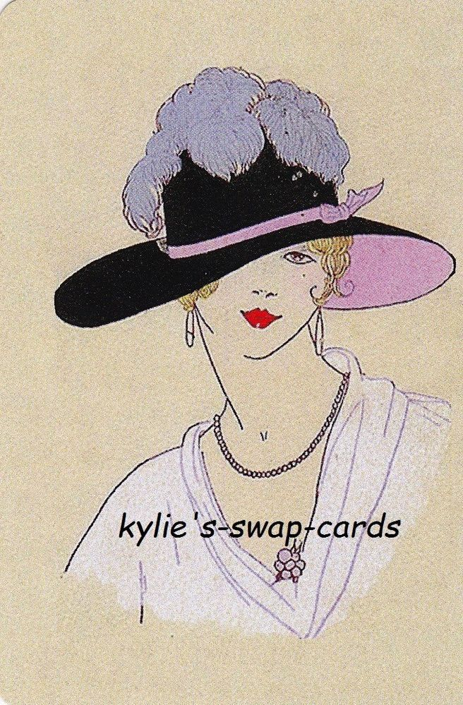 SE58 LOVELY LADY swap playing cards MINT CONDITION Art Deco style with hat