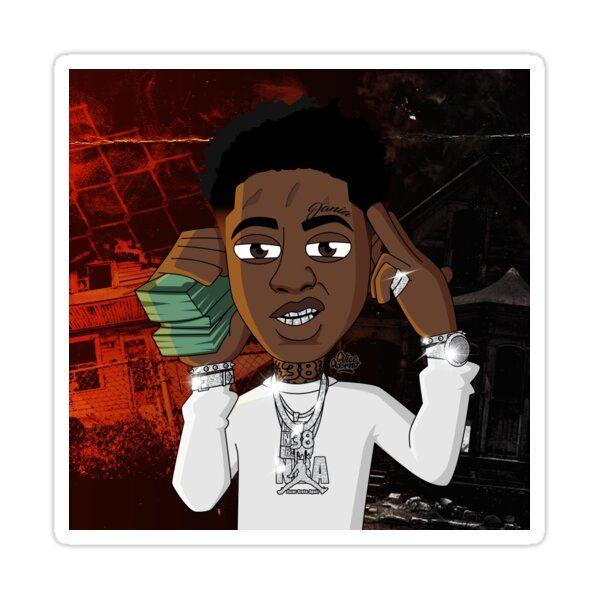 Nba Youngboy Cartoon Money Sticker By Aa30 In 2021 Rapper Art Anime Rapper Swag Cartoon